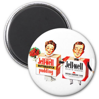 Retro Vintage Kitsch Food Jell-Well Gelatin Boxes 2 Inch Round Magnet