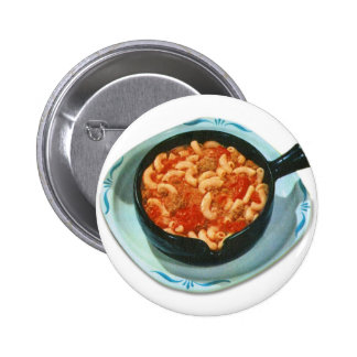 Retro Vintage Kitsch Food Spaghetti Hot Dish 2 Inch Round Button