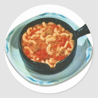 Retro Vintage Kitsch Food Spaghetti Hot Dish Classic Round Sticker