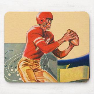 "Retro Vintage Kitsch Football 'Football Jones"" Mouse Pad"