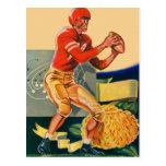 "Retro Vintage Kitsch Football 'Football Jones"" Postcard"
