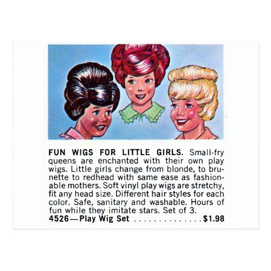 Retro Vintage Kitsch Fun Wigs For Little Girls Ad Postcard