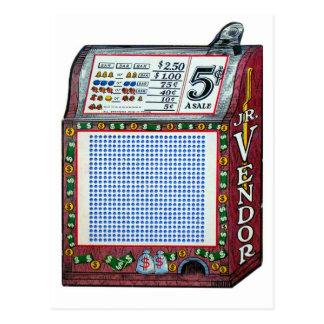 Retro Vintage Kitsch Gambling Punch Board Jackpot Postcard