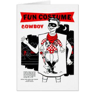 Retro Vintage Kitsch Halloween Cowboy Costume Card