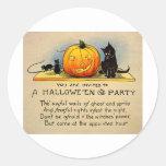 Retro Vintage Kitsch Halloween Invitation Round Sticker