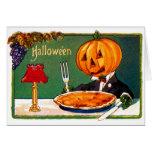 Retro Vintage Kitsch Halloween Pumpkin Eating Pie Greeting Card