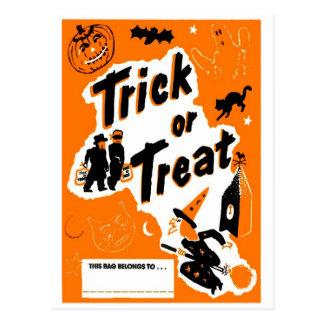 Retro Vintage Kitsch Halloween Trick or Treat Postcard
