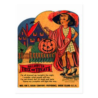Retro Vintage Kitsch Halloween Trix or Treat Candy Postcard
