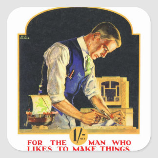 Retro Vintage Kitsch Handyman Woodworker Craftsman Square Sticker