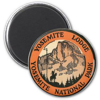 Retro Vintage Kitsch Hotel Yosemite Lodge Tag 2 Inch Round Magnet