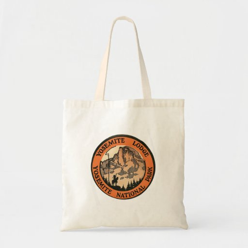 Retro Vintage Kitsch Hotel Yosemite Lodge Tag Tote Bags