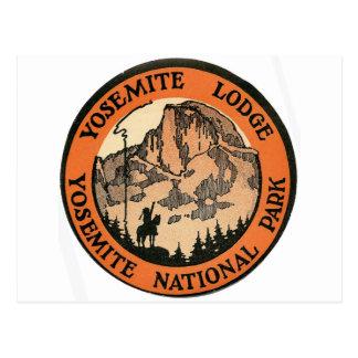 Retro Vintage Kitsch Hotel Yosemite Lodge Tag Postcard