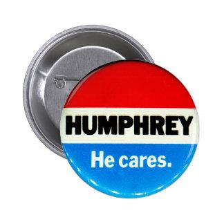 Retro Vintage Kitsch Humphrey 'He Cares' Button