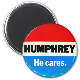 Retro Vintage Kitsch Humphrey 'He Cares' Button 2 Inch Round Magnet