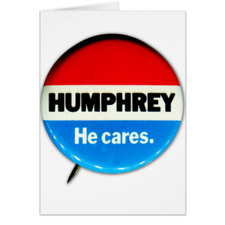Retro Vintage Kitsch Humphrey 'He Cares' Button Card