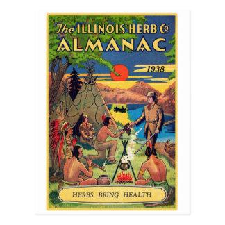 Retro Vintage Kitsch Illinois Herb Company Almanac Postcard