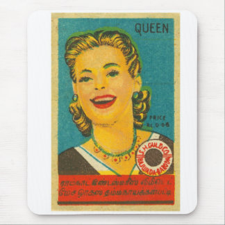 Retro Vintage Kitsch India Queen Brand Matches Mouse Pad
