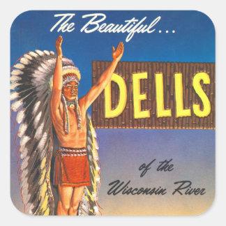 Retro Vintage Kitsch Indian Chief Wisconsin Dells Square Sticker