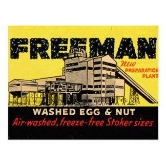 Retro Vintage Kitsch Industrial Freeman Egg & Nut Postcard