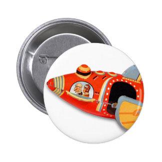 Retro Vintage Kitsch Japan Tin Toy Rocket Ship 2 Inch Round Button