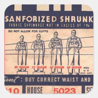 Retro Vintage Kitsch Jeans Pants Tag Super Big Square Sticker