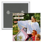 Retro Vintage Kitsch Jesus Points The Way 2 Inch Square Button