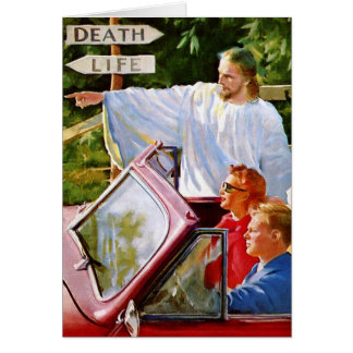 Retro Vintage Kitsch Jesus Points The Way Card