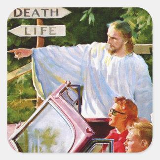 Retro Vintage Kitsch Jesus Points The Way Square Sticker