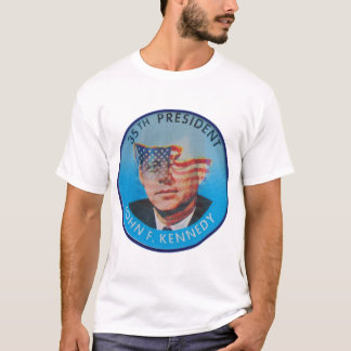 Retro Vintage Kitsch John Kennedy Flasher Button T-Shirt