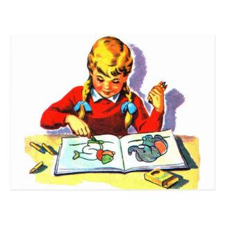 Retro Vintage Kitsch Kid School Book Arts & Crafts Postcard