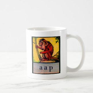 Retro Vintage Kitsch Kid's Alphabet Dutch aap Ape Coffee Mug