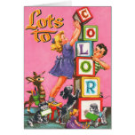 Retro Vintage Kitsch Kids Colouring Book Greeting Card