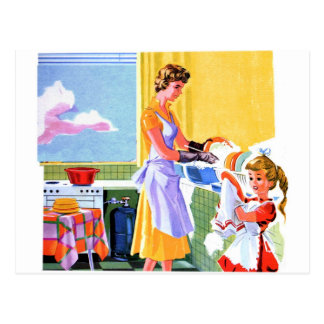 Retro Vintage Kitsch Kids Doing Dishes With Mom Postcard