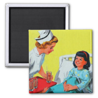 Retro Vintage Kitsch Kids Getting Tonsils Out Magnet