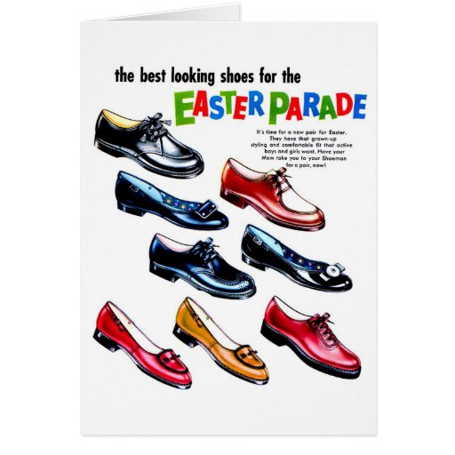 Retro Vintage Kitsch Kids Shoes Easter Parade Greeting Cards