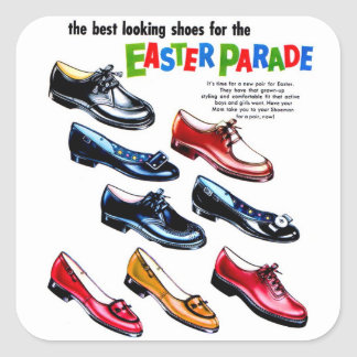 Retro Vintage Kitsch Kids Shoes Easter Parade Stickers