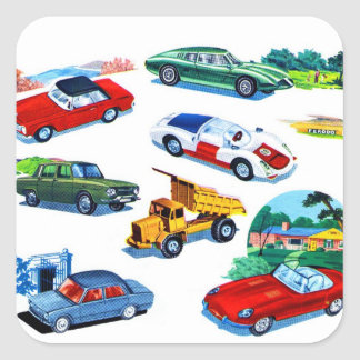 Retro Vintage Kitsch Kids Toy Diecast Cars Square Sticker