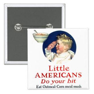 Retro Vintage Kitsch Little Americans Do Your Bit 2 Inch Square Button