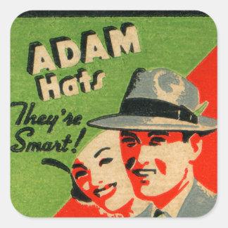Retro Vintage Kitsch Matchbook Art Adam Hats Ad Square Sticker
