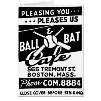 Retro Vintage Kitsch Matchbook Ball & Bat Cafe Card