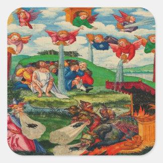 Retro Vintage Kitsch Medieval Plague Rats & Angels Square Sticker