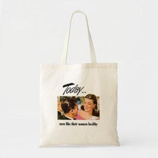 Retro Vintage Kitsch Men Like Their Women Heathly Budget Tote Bag