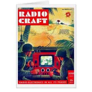 Retro Vintage Kitsch Military Radio Craft TV War Greeting Card