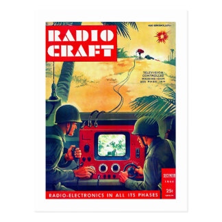 Retro Vintage Kitsch Military Radio Craft TV War Postcard
