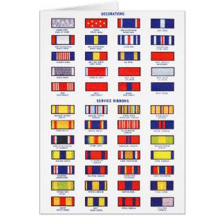 Retro Vintage Kitsch Military Service Ribbon Chart Greeting Cards