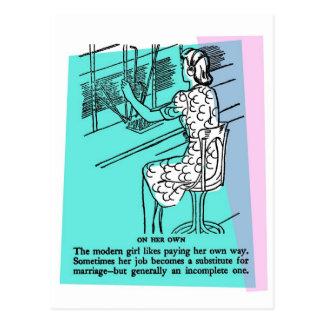 Retro Vintage Kitsch Modern Work Girl Not Complete Postcard