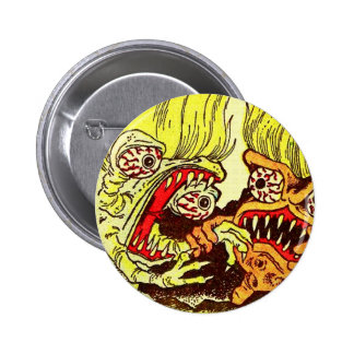 Retro Vintage Kitsch Monsters 'Grow 2 Monsters' 2 Inch Round Button