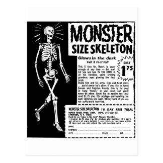 Retro Vintage Kitsch Moster Size Skeleton Ad Postcard