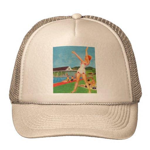 Retro Vintage Kitsch Pin Up Bathing Suit Resort Trucker Hats