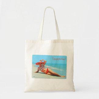 Retro Vintage Kitsch Pin Up Bikini Beach Postcard Budget Tote Bag